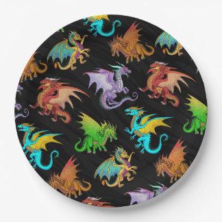 Prato De Papel Escola colorida dos dragões do arco-íris