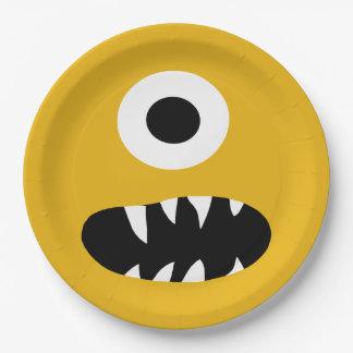 Prato De Papel Escolha o partido parvo do amarelo da cara do