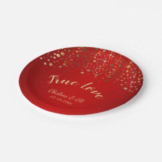 Prato De Papel Escuro - vermelho e pontos dos confetes do ouro