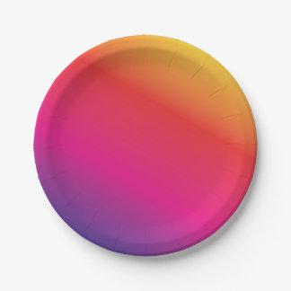 Prato De Papel Espectro do arco-íris colorido