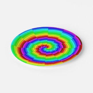 Prato De Papel Espiral do arco-íris