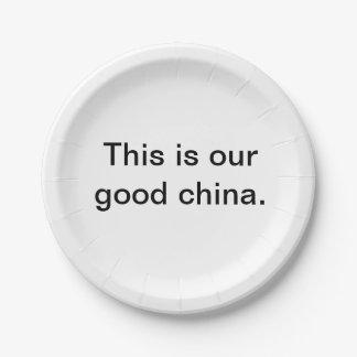 """Prato De Papel """"Esta é a placa de papel da nossa boa porcelana"""""""