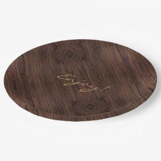 Prato De Papel Estilo country de madeira de madeira escuro