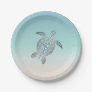Prato De Papel Estilo de prata da praia da tartaruga de mar