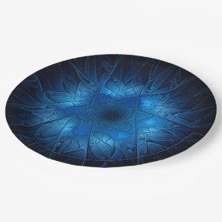 Prato De Papel Estrela de David azul do Fractal do Gravar-Olhar