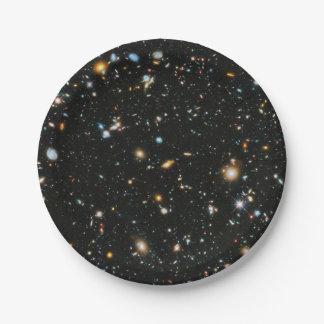 Prato De Papel Estrelas e galáxias do espaço profundo