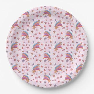 Prato De Papel Estrelas e ilustração do teste padrão do arco-íris