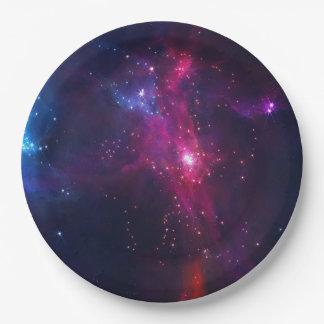 Prato De Papel Estrelas e nebulosa cósmicas do espaço