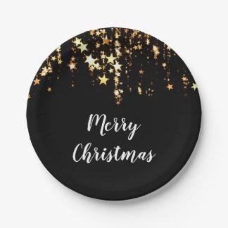 Prato De Papel estrelas modernas elegantes do ouro do Feliz Natal