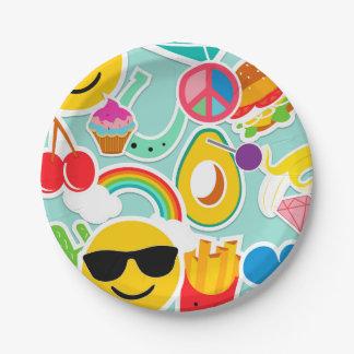 Prato De Papel Etiqueta Pattwern de Emoji do divertimento