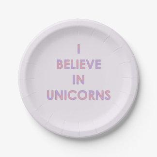 Prato De Papel Eu acredito nos unicórnios cor-de-rosa e no