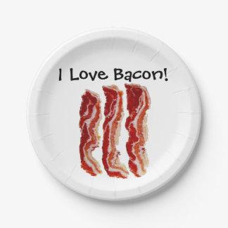 Prato De Papel Eu amo o bacon