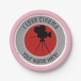Prato De Papel Eu amo o cinema