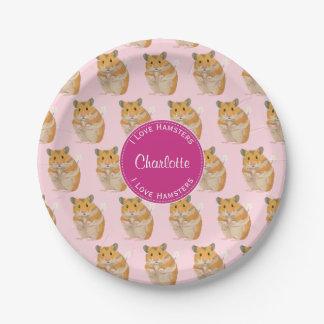 Prato De Papel Eu amo o teste padrão cor-de-rosa do hamster dos