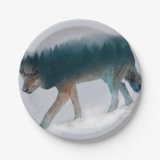 Prato De Papel Exposição dobro do lobo - floresta do lobo - lobo