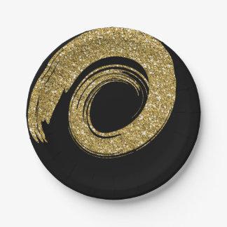 Prato De Papel Falso espiral Sparkly dourado do brilho do VIP do