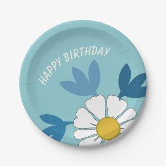 Prato De Papel Feliz aniversario da flor da margarida branca