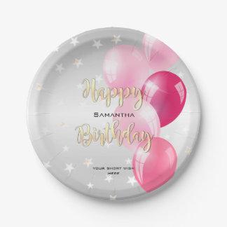 Prato De Papel Feliz aniversario estrelado à moda e balões