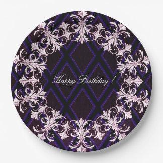 Prato De Papel Feliz-Aniversário-Francês-Elegância-Na