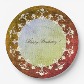 Prato De Papel Feliz-Aniversário-VELHo-elegância-grinalda-Damasco