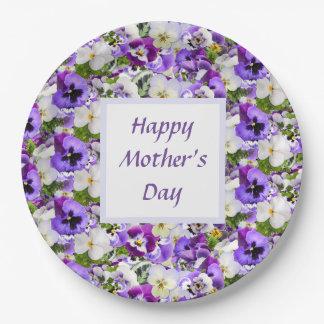Prato De Papel Feliz dia das mães floral roxo