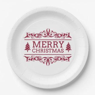 Prato De Papel Feliz Natal branco e vermelho