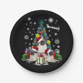 Prato De Papel Feliz Natal com o animal do cão do Pug
