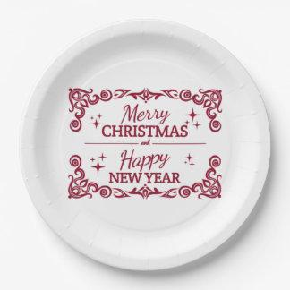 Prato De Papel Feliz Natal e o feliz ano novo brancos e vermelhos