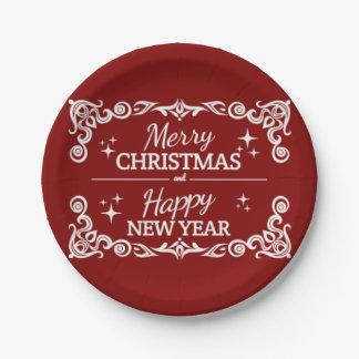 Prato De Papel Feliz Natal e o feliz ano novo vermelhos e brancos