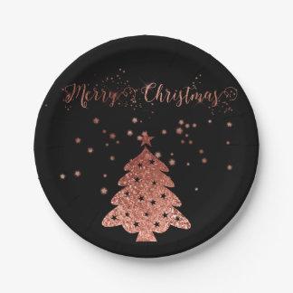 Prato De Papel Feliz Natal Glam e rosa e preto do brilho