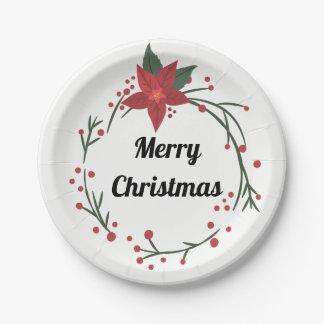 Prato De Papel Feliz Natal grinalda e placa do azevinho