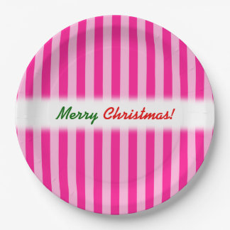 "Prato De Papel ""Feliz Natal! ""; Luz - cor-de-rosa & profundamente"