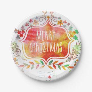 Prato De Papel Feliz Natal retro da aguarela