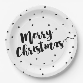 Prato De Papel Feliz Natal - tipografia e estrelas do roteiro