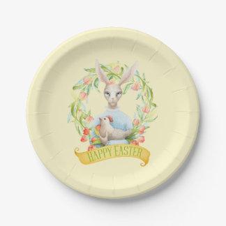 Prato De Papel Felz pascoa da grinalda e do coelho da tulipa