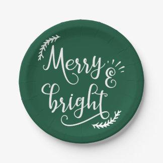 Prato De Papel feriado alegre e brilhante do Natal