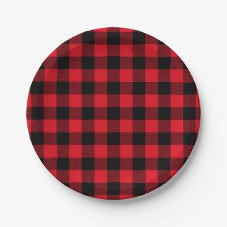 Prato De Papel Feriado vermelho festivo do teste padrão da xadrez