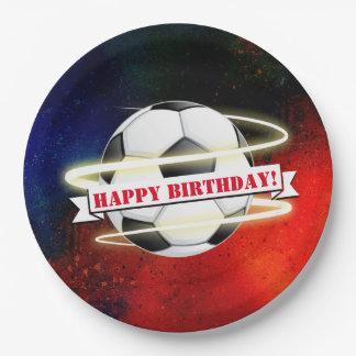 Prato De Papel Festa de aniversário cósmica da bola de futebol