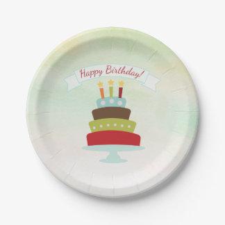 Prato De Papel Festa de aniversário do bolo de aniversário da