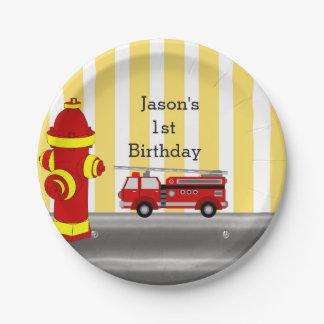 Prato De Papel Festa de aniversário do carro de bombeiros