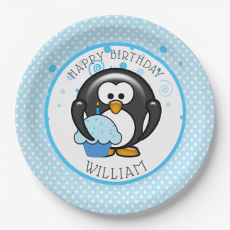 Prato De Papel Festa de aniversário do cupcake do pinguim