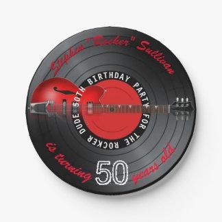 Prato De Papel Festa de aniversário do registro 50th da guitarra
