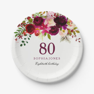 Prato De Papel Festa de aniversário floral vermelha do 80 de