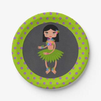 Prato De Papel Festa de aniversário havaiana da menina de Luau