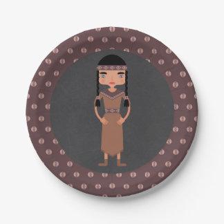 Prato De Papel Festa de aniversário indiana da menina do nativo