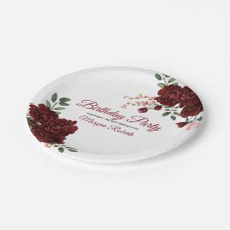 Prato De Papel Festa de aniversário romântica do rosa de Borgonha