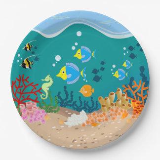 Prato De Papel Festa de aniversário submarina tropical da cena