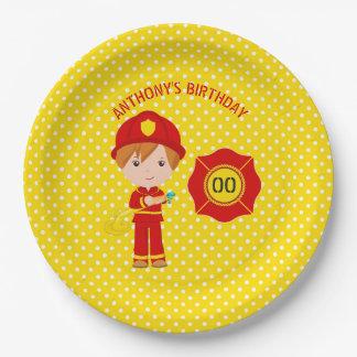 Prato De Papel Festa de aniversário temático do sapador-bombeiro