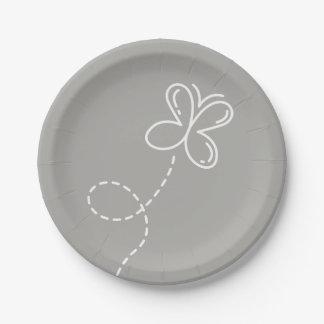 Prato De Papel Festa de casamento cinzenta e branca da borboleta