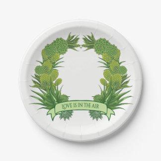 Prato De Papel Festa de casamento floral verde do Succulent & do
